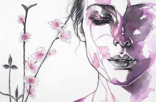 여인과 꽃