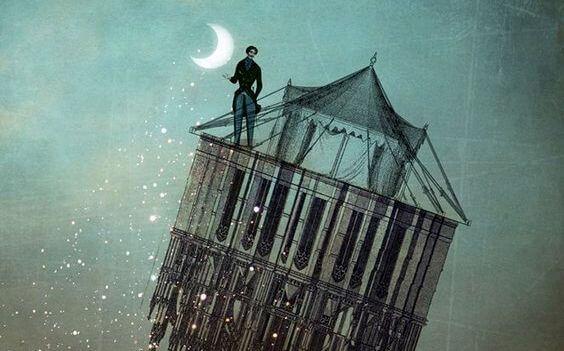 달을 들고 있는 남자