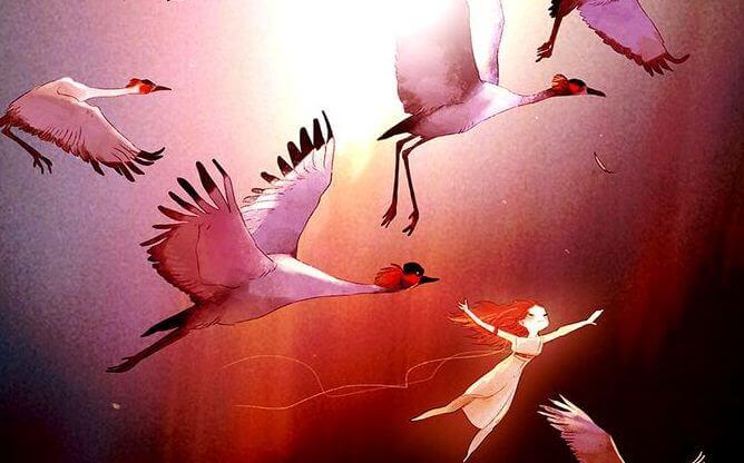 새와 함께 날아오르는 아이