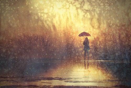 정서적 거리감: 빗 속의 우산