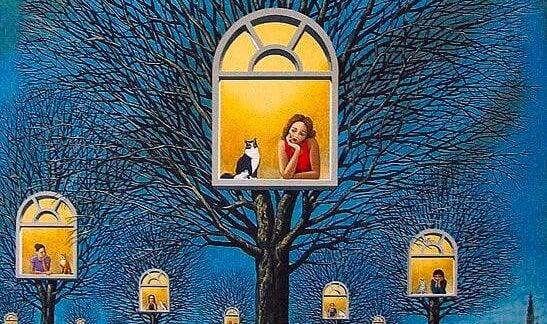 창가의 여자와 고양이