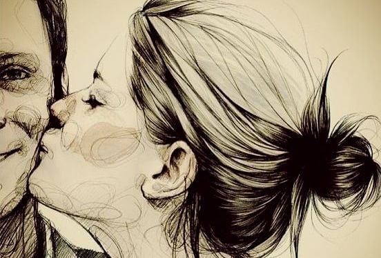 볼에 키스하는 연인