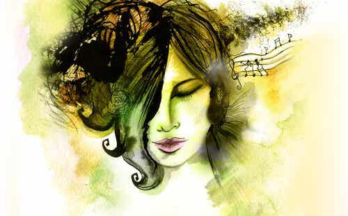 삶을 잠시 멈추기 위해, 음악을 듣는 여자