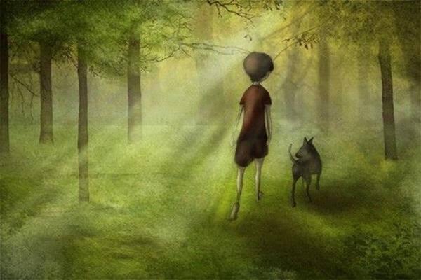 강아지와 산책을 하는 꼬마