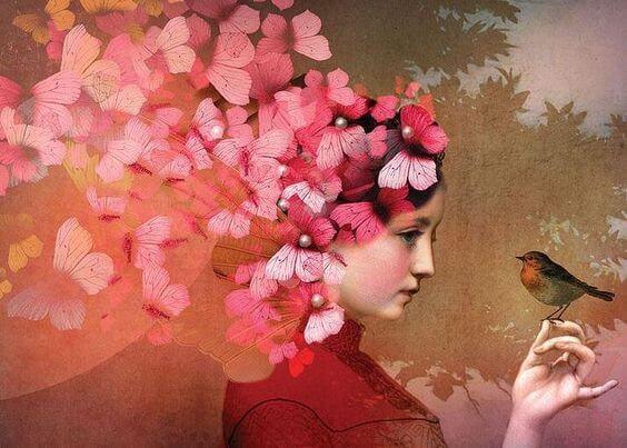 꽃과 새에 둘러싸인 여자