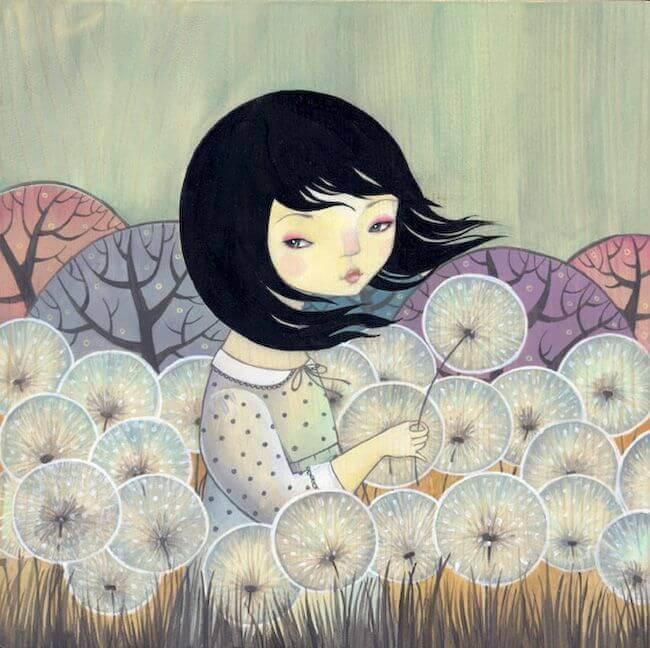 꽃밭에 앉아있는 여자