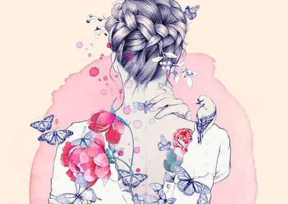 꽃에 둘러싸인 여자의 뒷모습