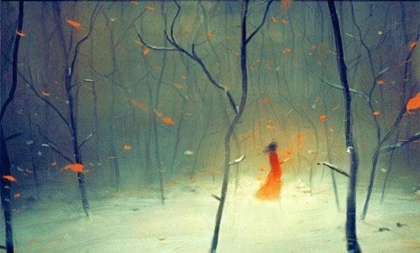 숲 속을 거니는 신비로운 여자