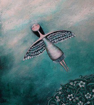 날개를 달고 날아가는 여자