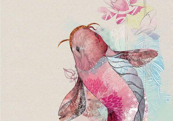 물고기 꽃무늬