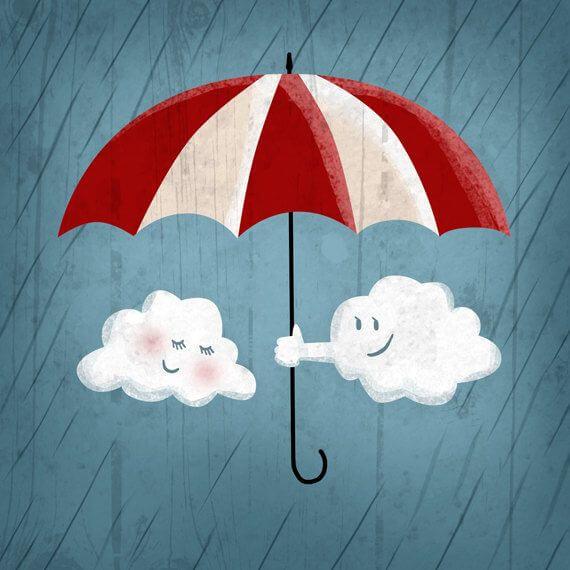 우산을 함께 쓰는 구름