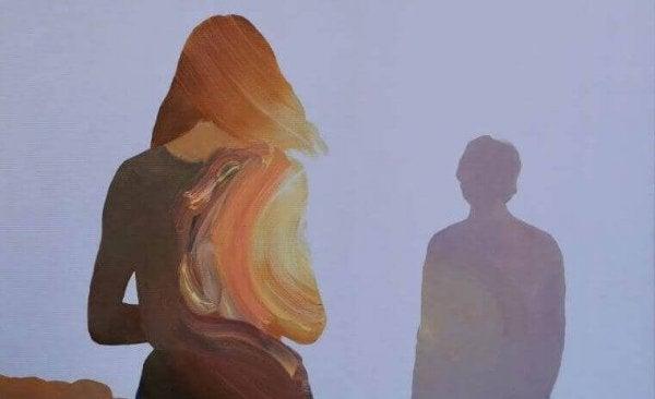 여자와 남자의 그림자