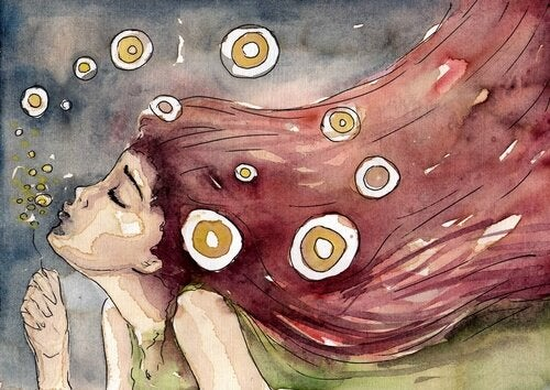 비누방울을 부는 여자의 그림