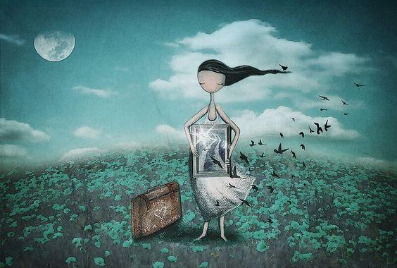그림 들고있는 소녀와 새들: 혼자일 때 외롭다면 좋은 친구가 없는 것이다