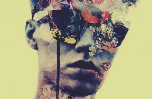 얼굴이 꽃으로 가려진 남자