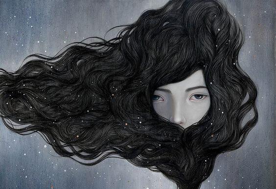 검은 머리카락에 가려진 여자
