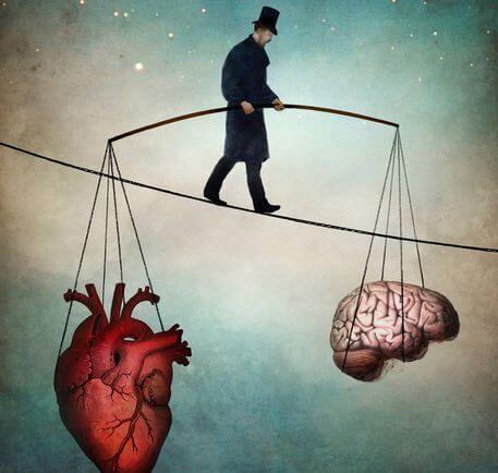 뇌와 심장을 들고있는 외줄타기
