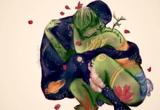 포옹하는 연인
