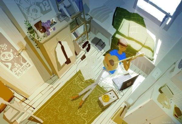 방에서 혼자 기타를 치는 여자