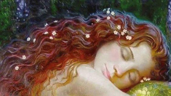 자는 빨간머리 여자아이