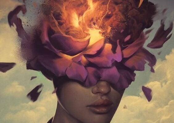얼굴이 불타는 꽃으로 덮인 사람