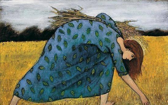 밀 수확하는 여자