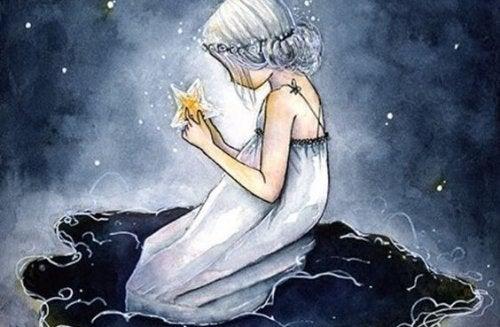별을 들고 있는 소녀