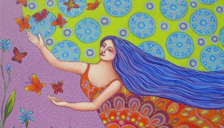 내면의 풍요로움을 깨우는 나비와 여인