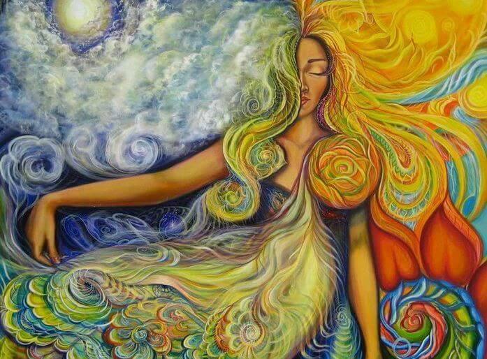 다채로운 머리와 배경의여인