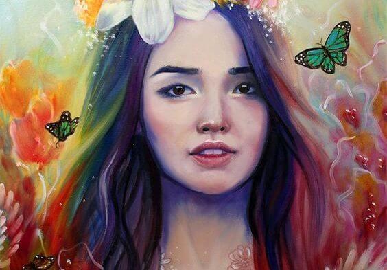 다채로운 색깔의 여인