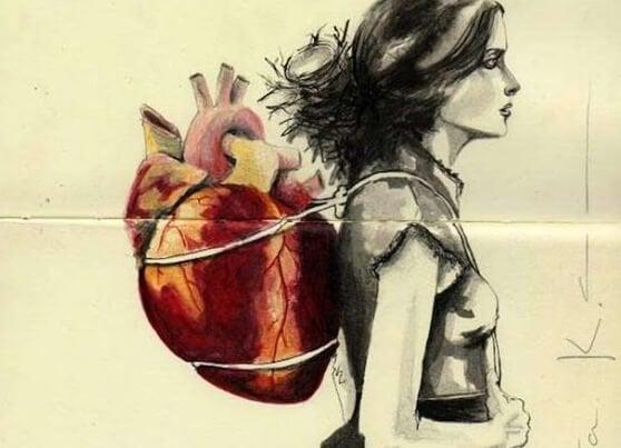 심장을 지고가는 여자