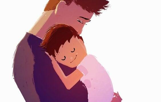 아빠에게 안겨 있는 아기