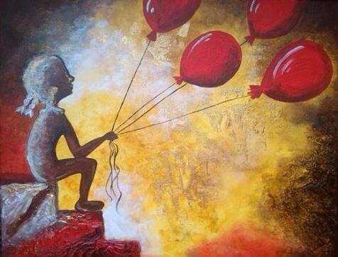 풍선과 여자:나이는 피부를 늙게 하지만, 열정의 부족은 영혼을 늙게 만든다