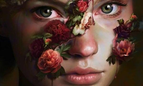 꽃으로 덮힌 얼굴