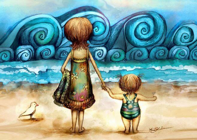 해변가 엄마 아이