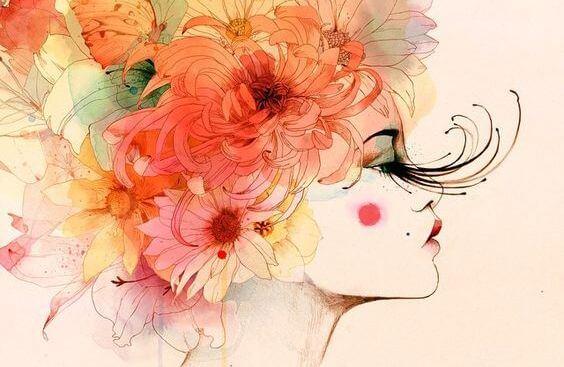 머리에 꽃이 있는 여자