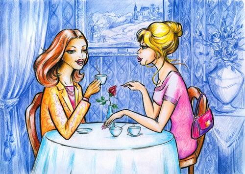 카페에서 커피마시는 여인들
