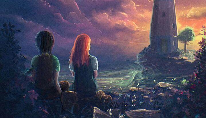 등대에 있는 소년과 소녀