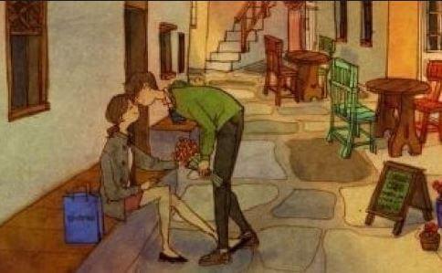 길에서 키스하는 커플: 애정을 담은 사랑은 부드럽게 영혼을 만져준다
