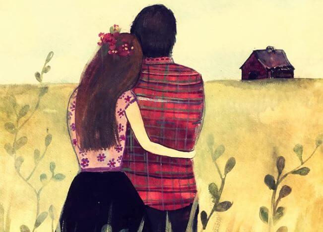 지평선을 바라보는 포옹하는 커플