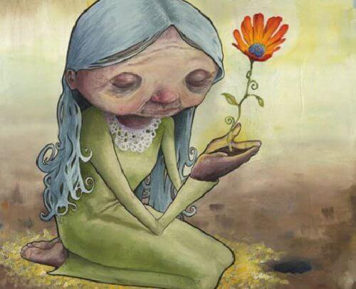 꽃을 든 늙은 여자
