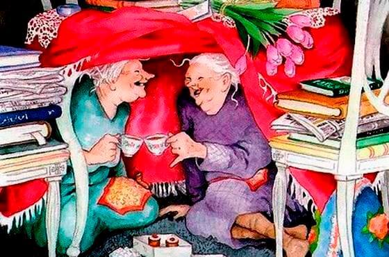 웃고 있는 할머니들
