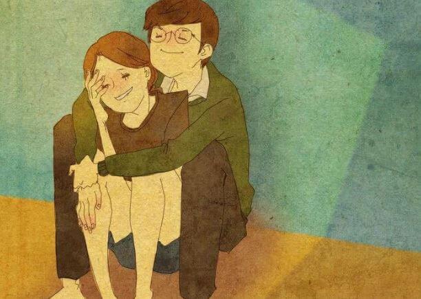 앉아서 포옹하는 커플
