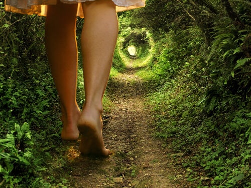 덤불길을 걷는 여인