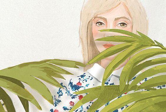 여자와 식물