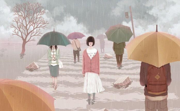 빗 속 횡단보도 건너는 여자: 편견 없는 경청이 위로가 된다