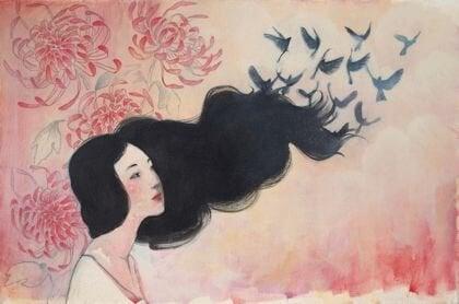 나비 소녀 머리
