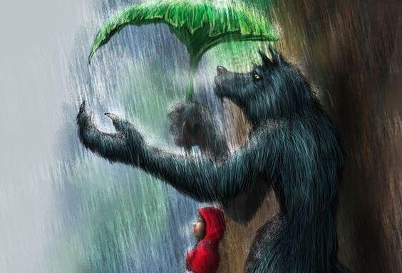 빨간모자의 머리에 우산 씌워주는 나쁜 늑대