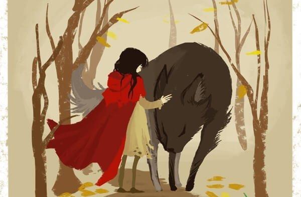 포옹하는 빨간소녀와 늑대