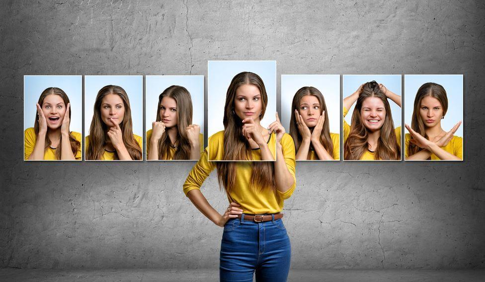 다양한 표정의 여자